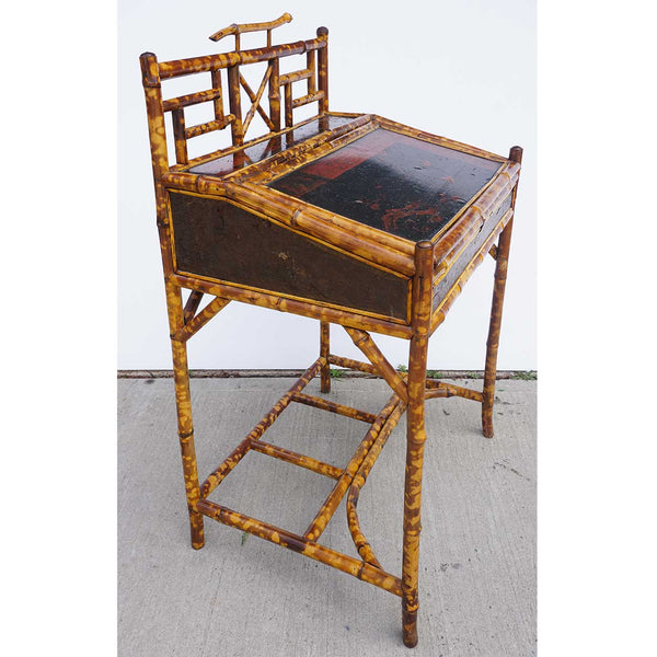 Small English Aesthetic Movement Bamboo Slant-Top Writing Desk