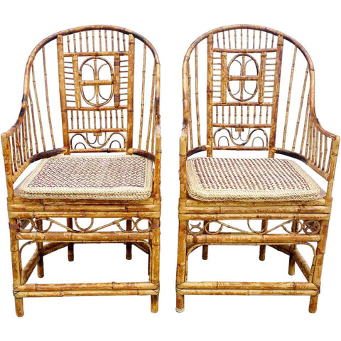 Pair Chinese Chippendale Style Bamboo Armchairs