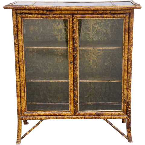 Small English Pine and Bamboo Glazed Door Bookcase