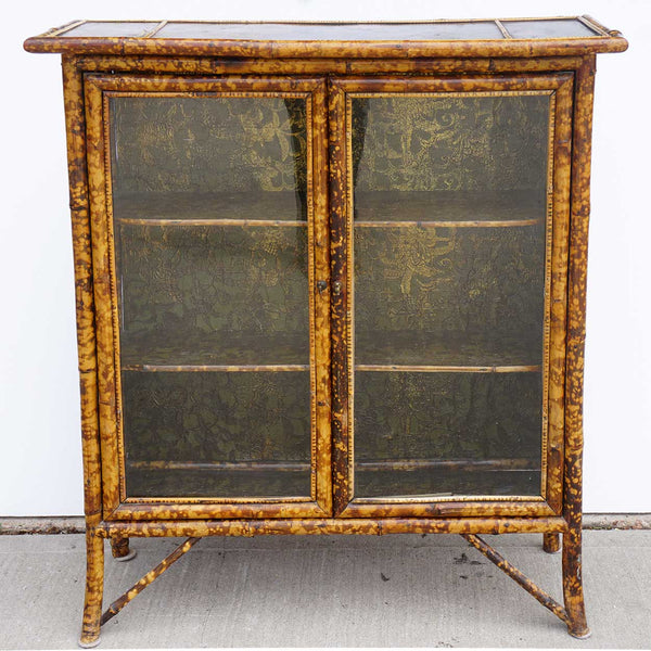 Small English Aesthetic Movement Lacquer, Pine and Bamboo Glazed Door Bookcase