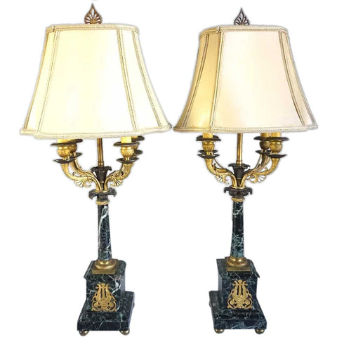 Pair of French Louis XVI Style Verde Antico Marble Table Lamps