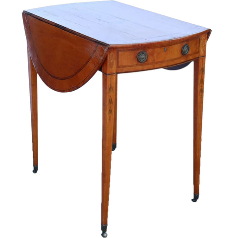 English George III Inlaid Satinwood Round Drop-Leaf Pembroke Table on Casters