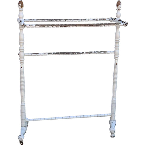 American Victorian White Painted Oak Towel / Quilt Rack