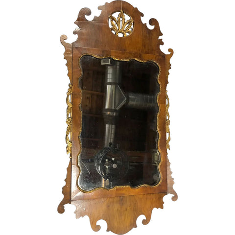 English Chippendale Style Parcel Gilt and Walnut Wall Mirror