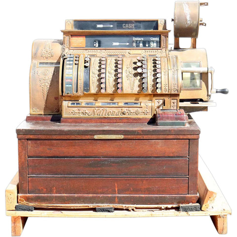 Large Vintage American National Brass and Wood Model 562 Cash Register
