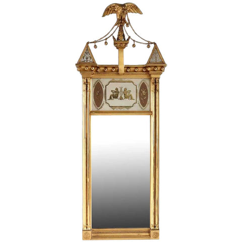 American Edward T. Bacon Federal Style Reverse Painted Glass and Gilt Eagle Crest Mirror
