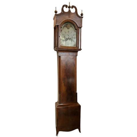 English George III Inlaid Figured Mahogany Grandfather Clock