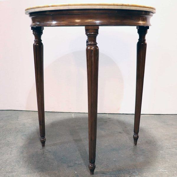 Italian Scagliola Inlaid Marble and Walnut Round Side Table