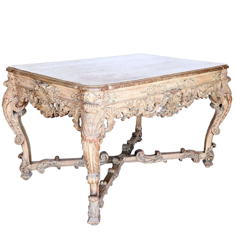 French Louis XIII-XIV Style Carved Oak Center Table