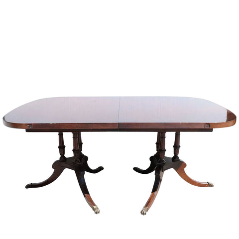 American Watertown Table Slide Company Mahogany Two-Pedestal Extending Dining Table