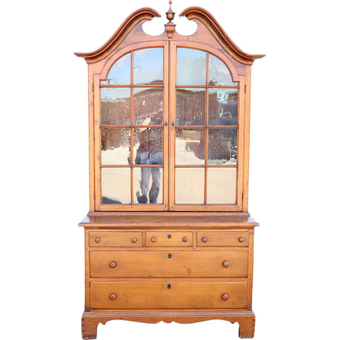 American New England Pine / Poplar Glazed Door Display Cabinet on Chest