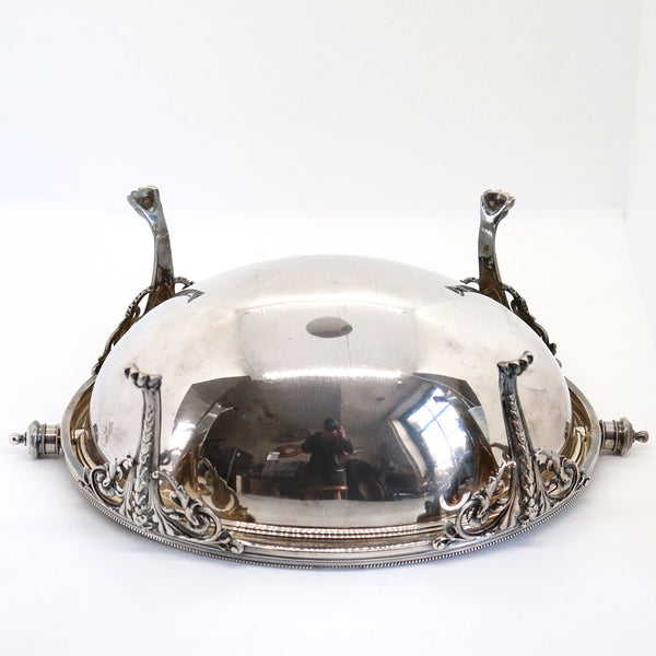 English Edwardian Elkington & Company Silverplate Domed Revolving Lid Serving Dish