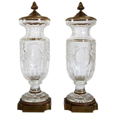 Pair of French Gilt Brass Mounted Cut Glass Urns