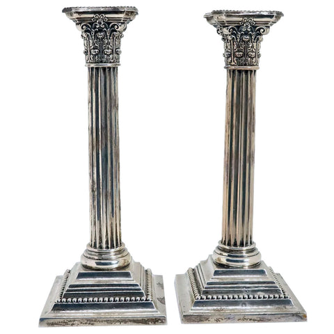 Pair of American Gorham for Shreve, Crump & Low Sterling Silver Column Candlesticks