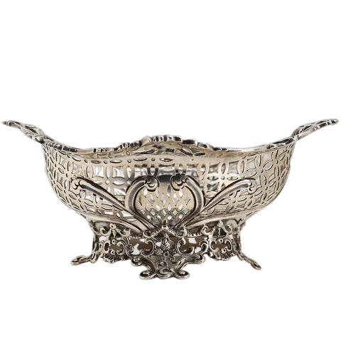 English Victorian William Comyns Sterling Silver Reticulated Sweetmeat Basket