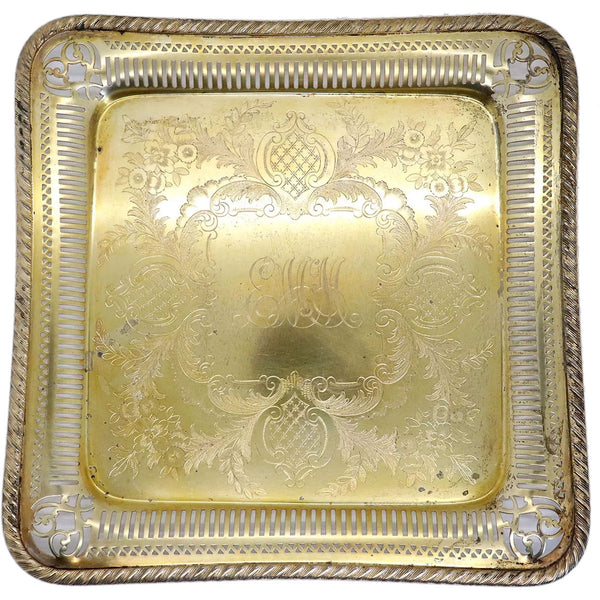 American Gorham Gilt Engraved Silverplate Reticulated Square Tray