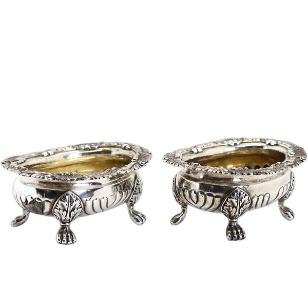 Pair of English George III Joseph Angell I Gilt Sterling Silver Master Salt Dips