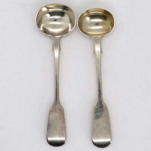 Two English Georgian Style Sterling Silver Fiddle Pattern Mustard Condiment Spoons