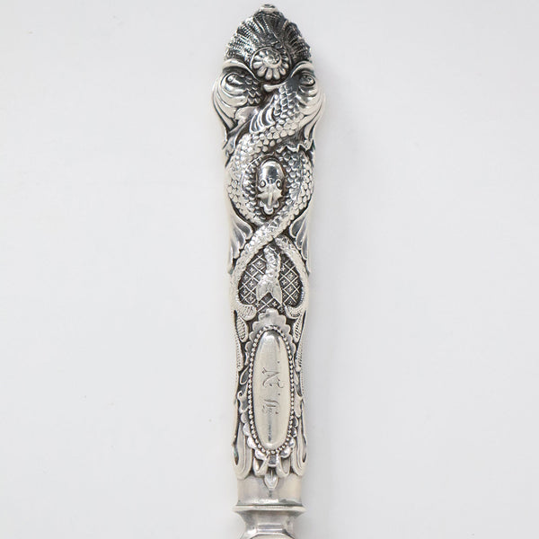 American Albert Coles Coin Silver Fish Serving Knife