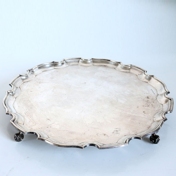 English George V S. G. Jacobs Chippendale Style Sterling Silver Salver