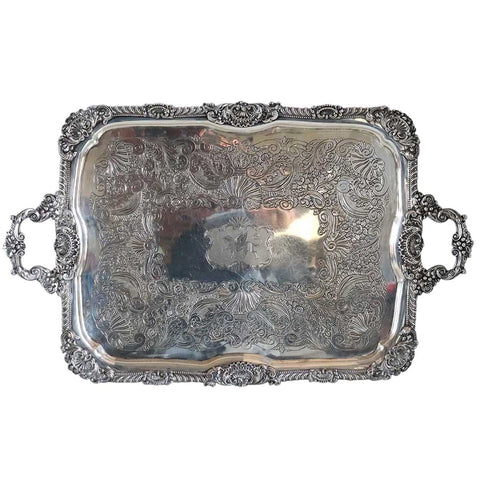 Large English George III Fenton, Allanson & Machon Sterling Silver Armorial Two-Handle Tea Tray