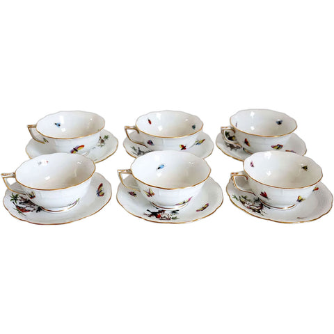 Set of Six Hungarian Herend Porcelain Rothschild Bird Footed Tea Cups and Saucers