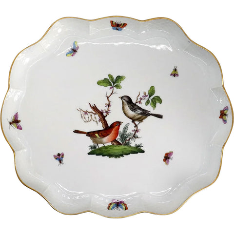 Vintage Hungarian Herend Handpainted Porcelain Rothschild Bird Serpentine Platter