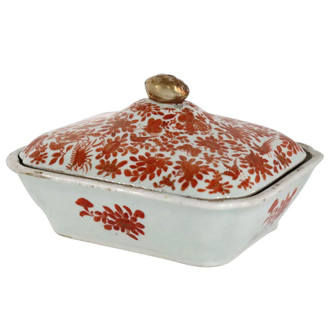 Chinese Export Porcelain Iron Red Sacred Bird and Butterfly Covered Serving Dish
