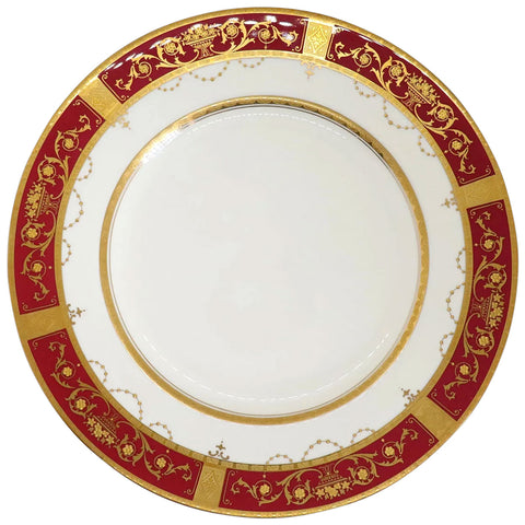 Set of 12 English Minton Porcelain Gilt and Red Dinner K92 Pattern Plates