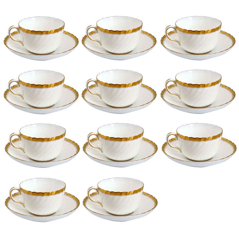 Set of 14 Vintage English Minton Bone China Gold Rose Cups and Saucers
