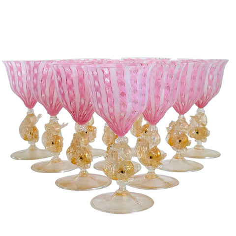 Set of 10 Venetian Murano Salviati Glass Pink Zanfirico and Dolphin Stem Goblets