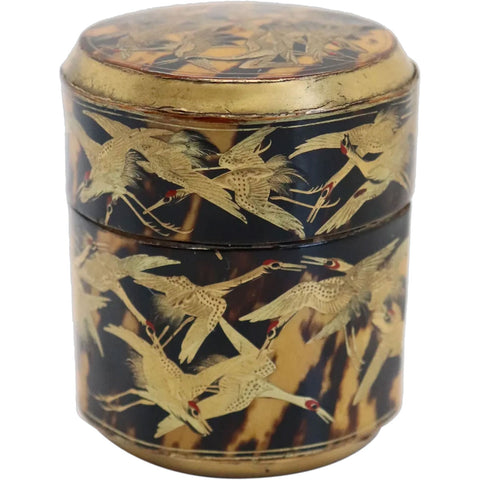 Small Japanese Gilt and Black Lacquer Thousand Crane Round Box