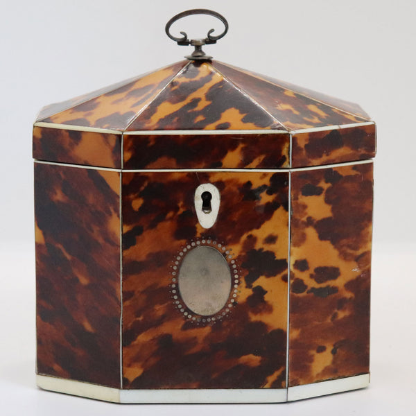 English George III Mother-of-Pearl and Tortoiseshell Octagonal Tea Caddy