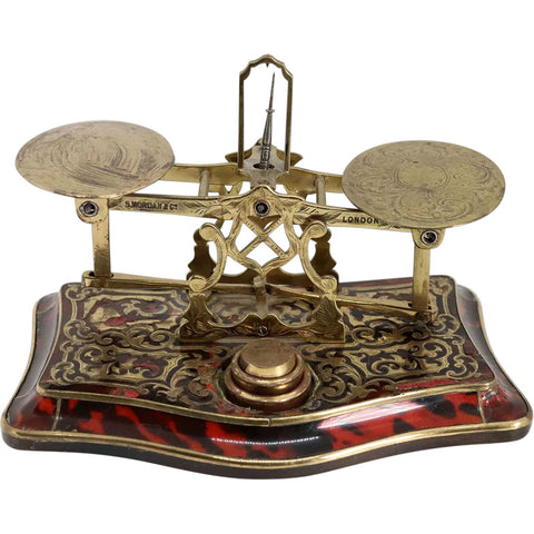 Rare English Sampson Mordan & Company Boulle Brass Postal Scale and Weights