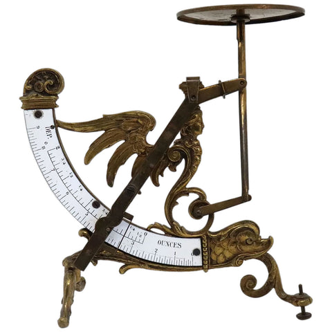 Unusual French Cast Brass and Enamel Pendulum Postal Scale