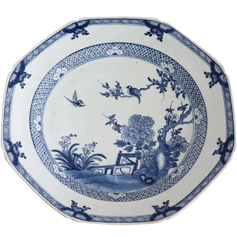 Chinese Export Qianlong Porcelain Blue and White Octagonal Charger