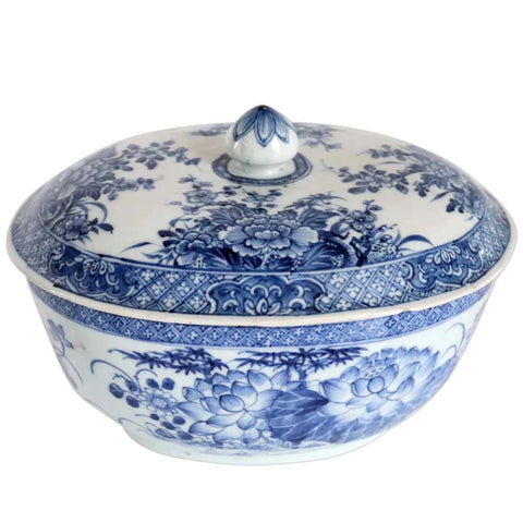 Chinese Export Porcelain Blue and White Bamboo and Floral Lidded Serving Bowl