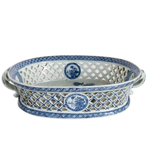 Chinese Export Qianlong Blue and White Porcelain Reticulated Basket