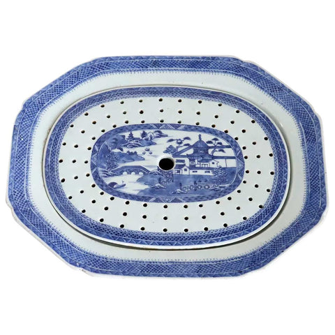 Chinese Export Canton Blue and White Porcelain Serving Platter and Mazarine