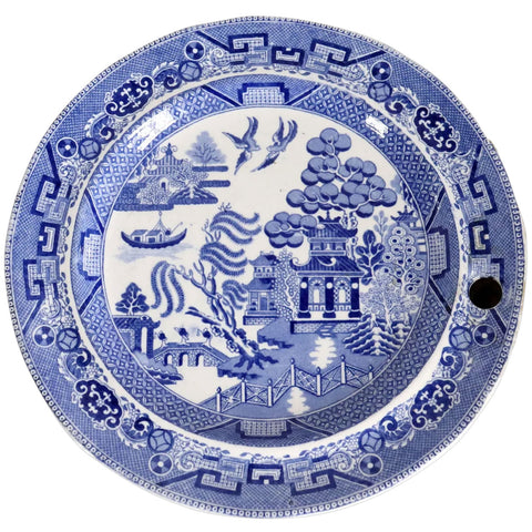 English Copeland Late Spode Blue and White Blue Willow Warming Plate