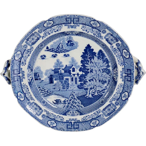 English Spode Blue and White Transferware Pottery Forest Landscape Hot Water Plate