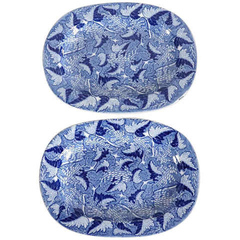 Pair of Small English Spode Blue and White Transferware Grapevine Sheet Pattern Platters
