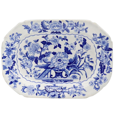 English Ridgway Cauldon Works Blue and White Dresden Opaque China Ceramic Platter