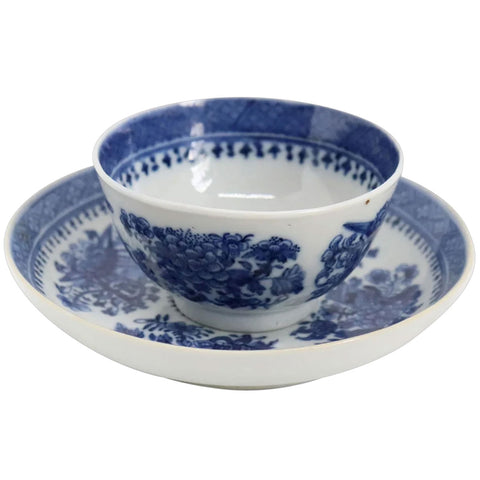 Chinese Export Porcelain Blue and White Fitzhugh Tea Bowl and Saucer