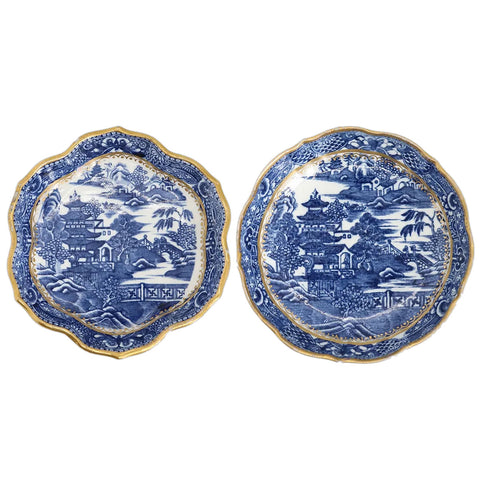 Two English Caughley Porcelain Gilt, Blue and White Pagoda Pattern Teapot Stands