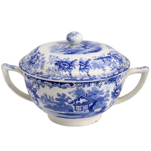 English Minton Blue and White Transferware Pottery Two-Handle Lidded Broth Pot