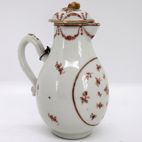 Chinese Export Iron Red and Gilt Porcelain Sparrow Beak Milk Jug with Chained Lid