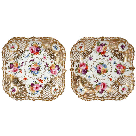 Pair of English Grainger Worcester Gilt Porcelain Floral Square Dishes