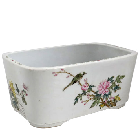 Chinese Export Famille Rose Porcelain Rectangular Bulb Planter