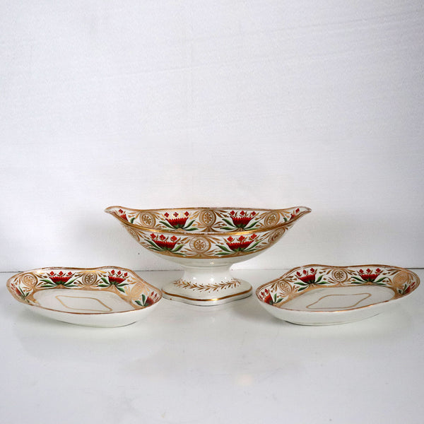 Set of Three English Georgian Gilt Porcelain Compote and Underplate Trays